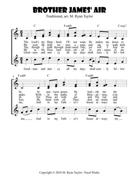 Download Brother James Air (Psalm 23) - Duet Or Trio And Easy ...