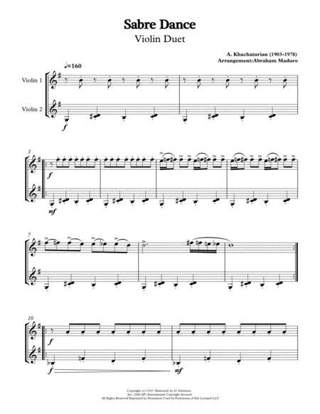 Sabre Dance by Aram Khachaturian Violin Duet