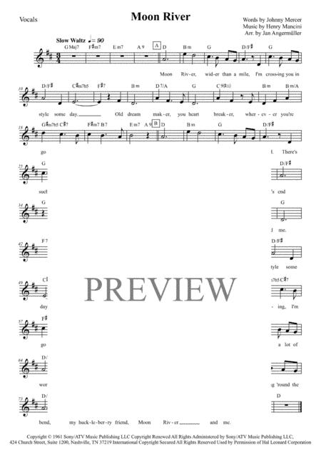 Download Moon River Vocals Wchords Key D Major Sheet Music By