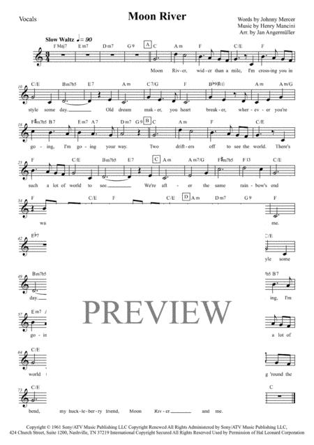 Download Moon River (Vocal W/Chords, Collection Of Different Keys: C ...