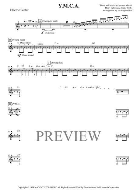 Y.M.C.A. (E-Guitar, Transcription of the original YMCA recording)