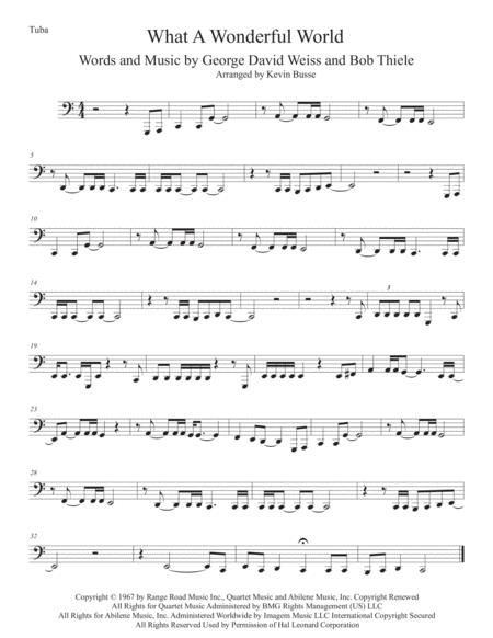 What A Wonderful World (Easy key of C) - Tuba