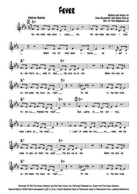 Download Fever Vocalchords Sheet Music By Peggy Lee Sheet Music