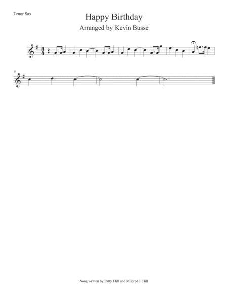 Happy Birthday - Tenor Saxophone