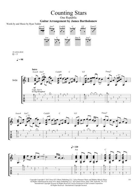 Download Counting Stars Fingerstyle Guitar Sheet Music By