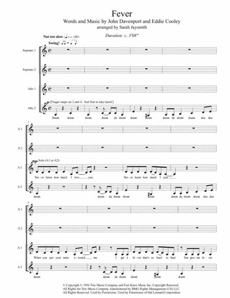 Fever by Peggy Lee (SSAA, a cappella), arranged by Sarah Jaysmith