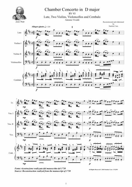 Preview Vivaldi - Chamber Concerto In D Major RV 93 For Lute