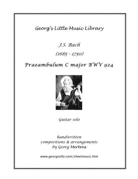 Bach Praeambulum C major for guitar (notes & TAB)