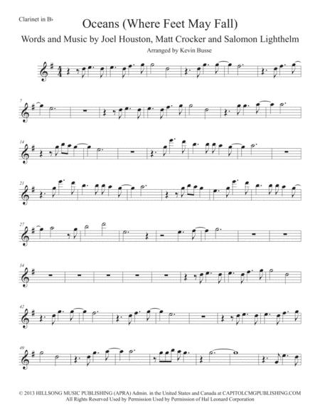 Download Oceans Where Feet May Fail Clarinet Sheet Music By