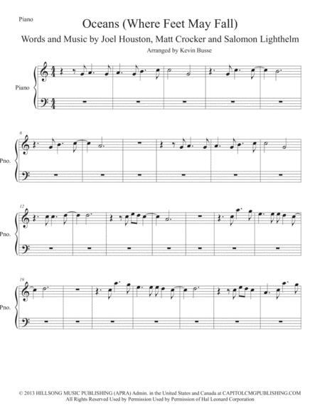Preview Oceans (Easy Key Of C) - Piano By Hillsong United