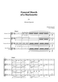 Gounod - Funeral March of a Marionette - Clarinet Quartet, score and parts
