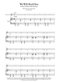 Download We Will Rock You For Easy Solo Trumpet In Bb And Piano