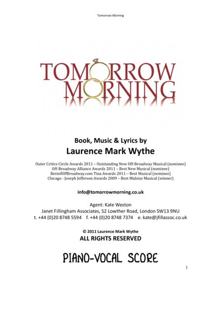 TOMORROW MORNING - PIANO VOCAL SCORE