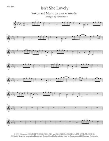 Isn't She Lovely (Original key) - Alto Sax