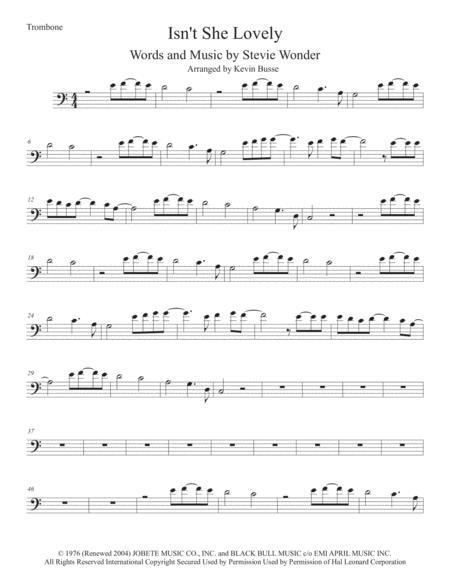 Isn't She Lovely (Easy key of C) - Trombone