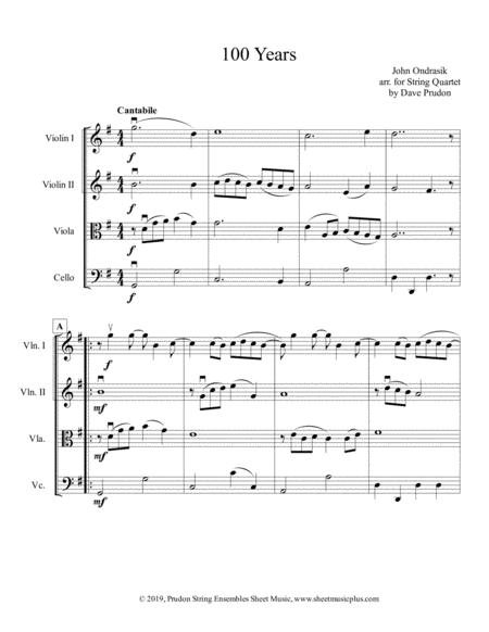 100 Years for String Quartet