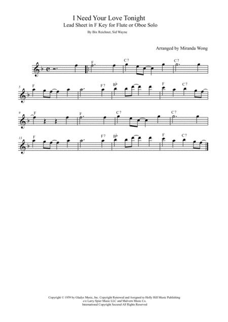 I Need Your Love Tonight - Flute or Oboe Solo in F Key (With Chords)
