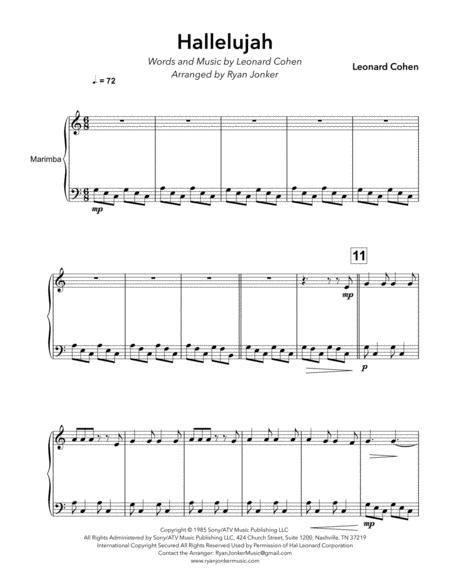 Hallelujah (Leonard Cohen) for Solo Marimba