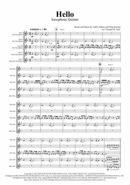 Hello - Adele - Saxophone Quintet