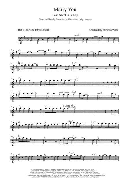 Marry You - Tenor or Soprano Saxophone Solo in G Key