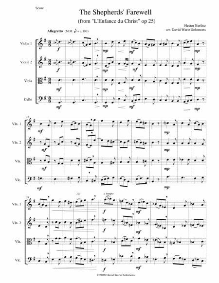The Shepherds' Farewell for string quartet