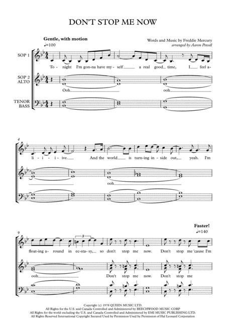 Download Don't Stop Me Now - SATB A Cappella Sheet Music By Queen