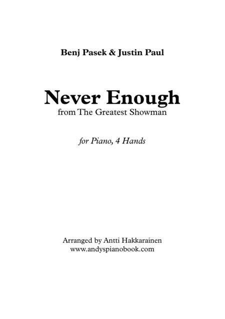 Never Enough (from The Greatest Showman) - Piano, 4 Hands