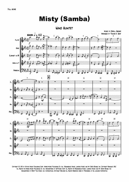 Misty - (Eroll Garner, Samba) - Wind Quintet
