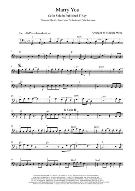 Marry You - Lead Sheet for Bass Clef Instruments and Piano in Published F Key