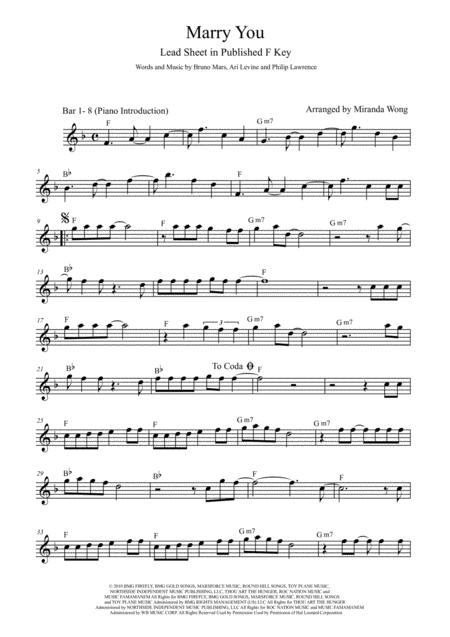 Download Marry You Lead Sheet For 3 Keys Fg D Key With