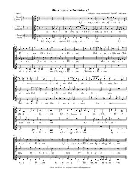 Missa brevis de Dominica a 3 (Biondi da Cesena) — SSA