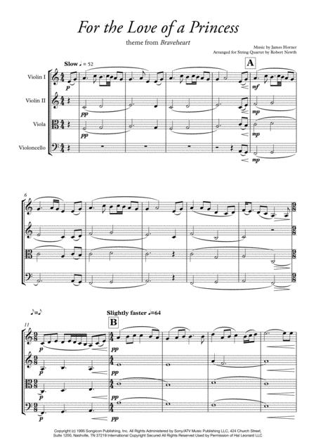For the Love of a Princess (Theme from Braveheart) for String Quartet