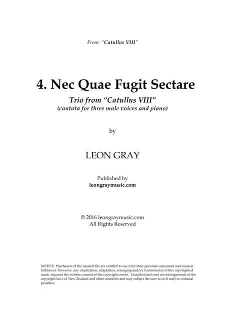 Nec Quae Fugit Sectare, from trio cantata 'Catullus VIII'