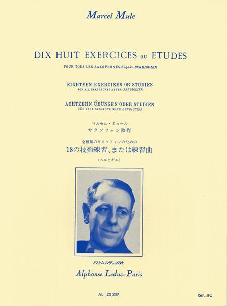 Dix Huit Exercices ou Etudes Pour Tous les Saxophones d'apres Berbiguier