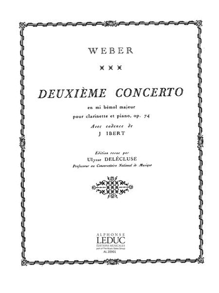 Weber Delecluse Concerto No.2 Eb Major Op.74 Clarinet & Piano Book