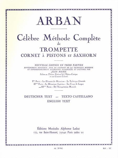 Celebre Methode Complete De Trompette Cornet A Pistons Et Saxhorn Vol 3 Arban