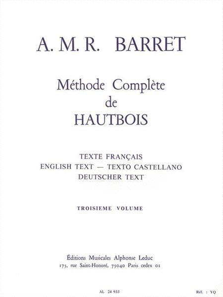 Apollon Marie Rose Barret - Methode Complete De Hautbois , 3<sup>e</sup> Vol.