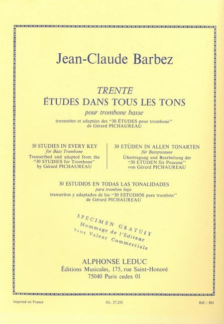 30 Etudes Dans Tous Les Tons (trombone-bass Solo)