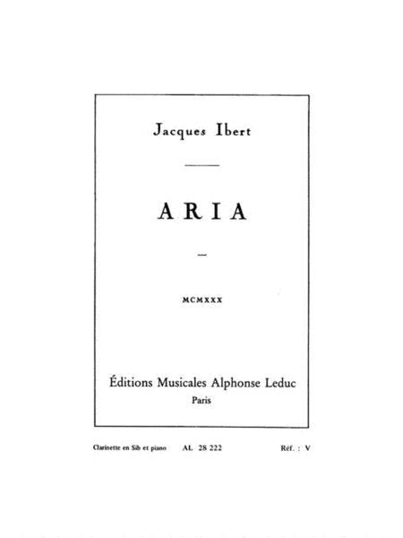 Ibert Aria Clarinet In Bb & Piano Book