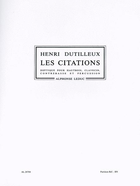Citations, For Oboe, Harpsichord, Double Bass And Percussion