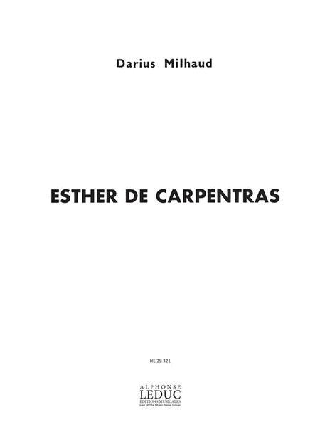 Milhaud Darius Esther De Carpentras Voice & Piano Book English
