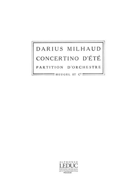 Milhaud Darius Concertino D'ete Alto 9 Ph199 Orchestra Score