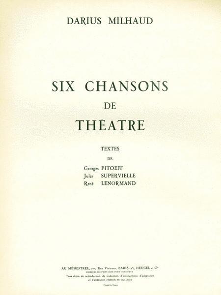 Milhaud Darius 6 Chansons De Theatre Medium Voice & Piano Book