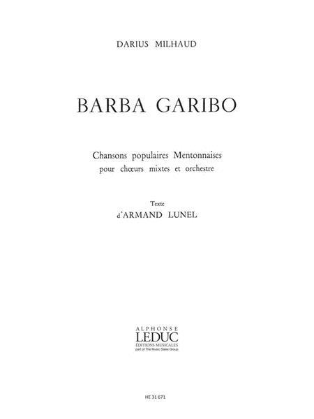 Milhaud Darius Barba Garibo Voice & Piano Book