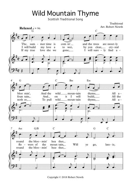 Download Wild Mountain Thyme - Traditional Scottish Song Sheet Music ...