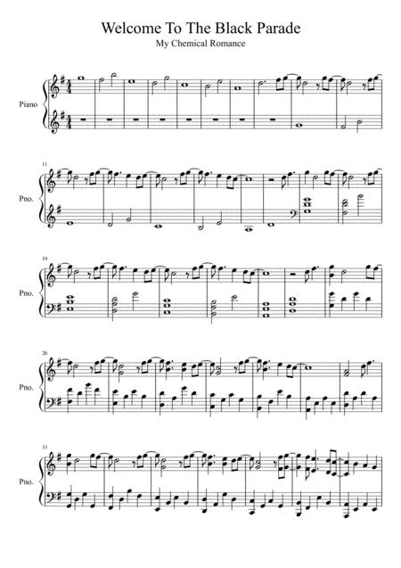 Download Welcome To The Black Parade Sheet Music By My Chemical