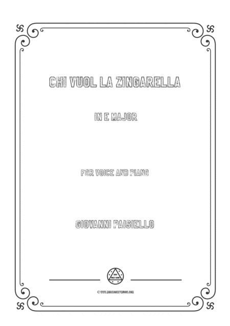 Paisiello - Chi Vuol la zingarella in E Major for voice and piano