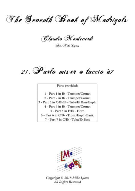 Monteverdi - The Seventh Book of Madrigals (1619) - 21. Parlo miser o taccio à7