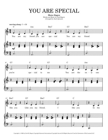 You Are Special From Mister Rogers 039 Neighborhood Piano Vocal Guitar By Fred Rogers Digital Sheet Music For Piano Vocal Chords Voice Guitar Download Print H0 372083 6 From Zaspr Media Llc Self Published At Sheet Music Plus