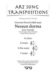 Nessun dorma (in 3 keys: G, G-flat, F major)